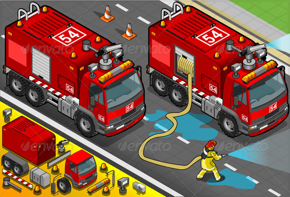 GraphicRiver Isometric Firefighter Tank Truck in Front View 5161048