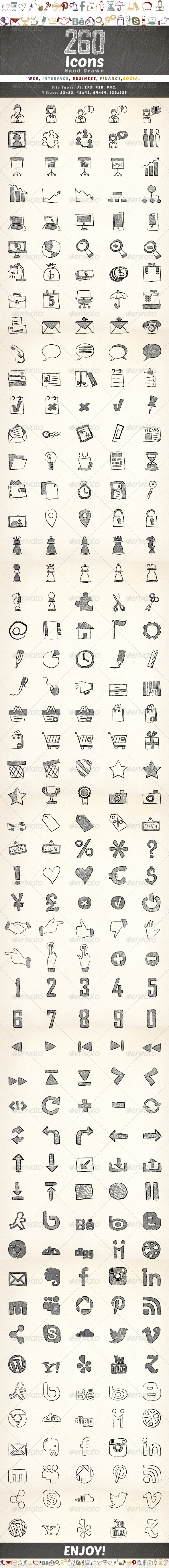 GraphicRiver 260 Hand Drawn Icons 5168008