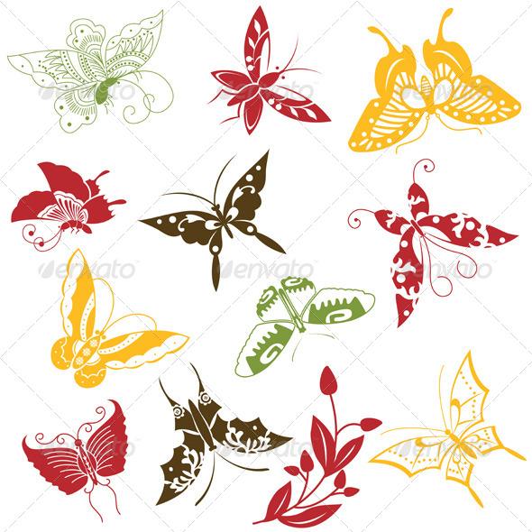 GraphicRiver Butterflies Ornaments Set 5168086