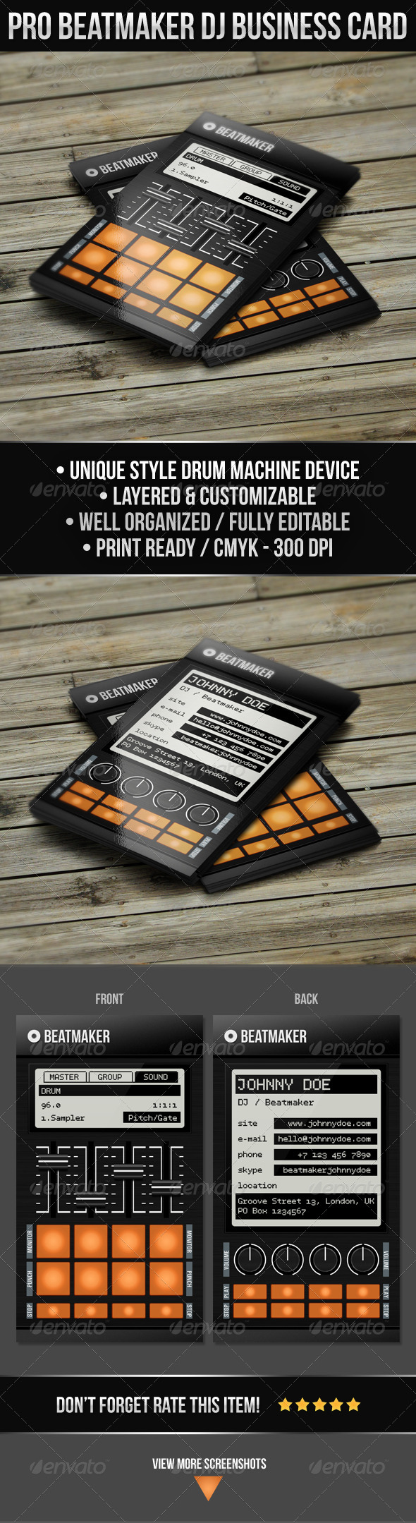 Pro Beatmaker DJ Business Card - Industry Specific Business Cards