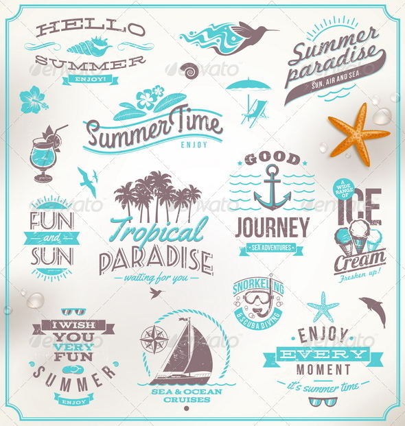 GraphicRiver Set of Travel and Vacation Emblems and Symbols 5168982