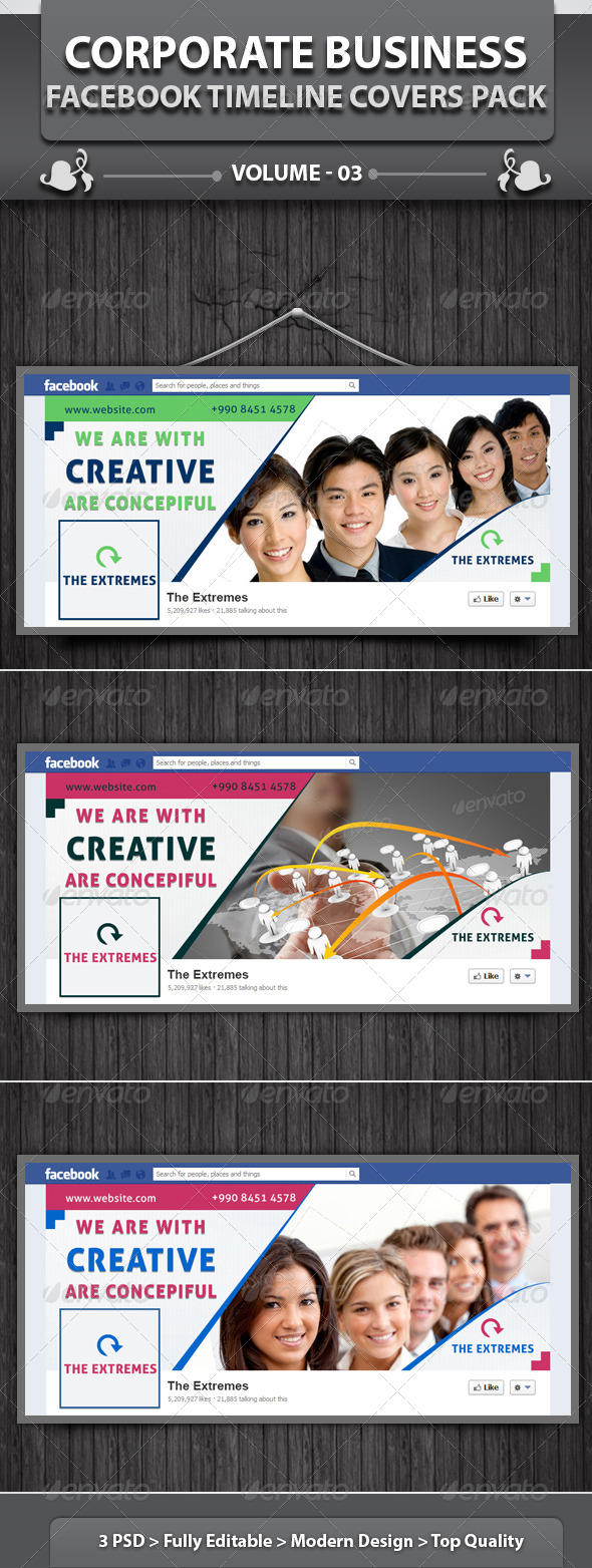 GraphicRiver Corporate Business Facebook Timeline Cover Pack v3 5169658