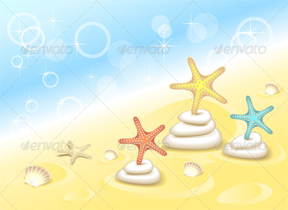 GraphicRiver Background with Starfishes Dancing on Stones 5169692