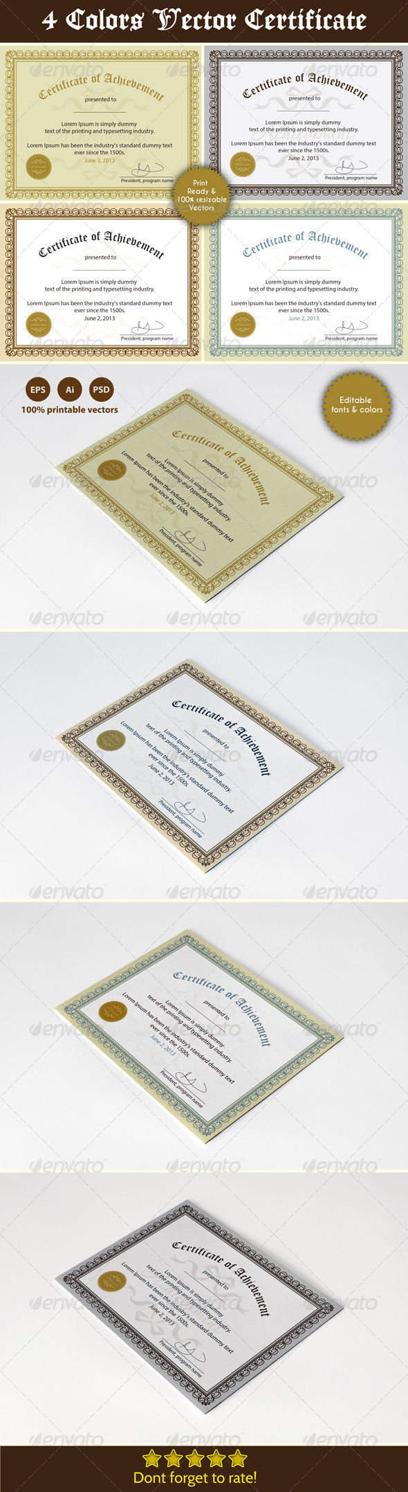 GraphicRiver Achievement Certificates 5089179