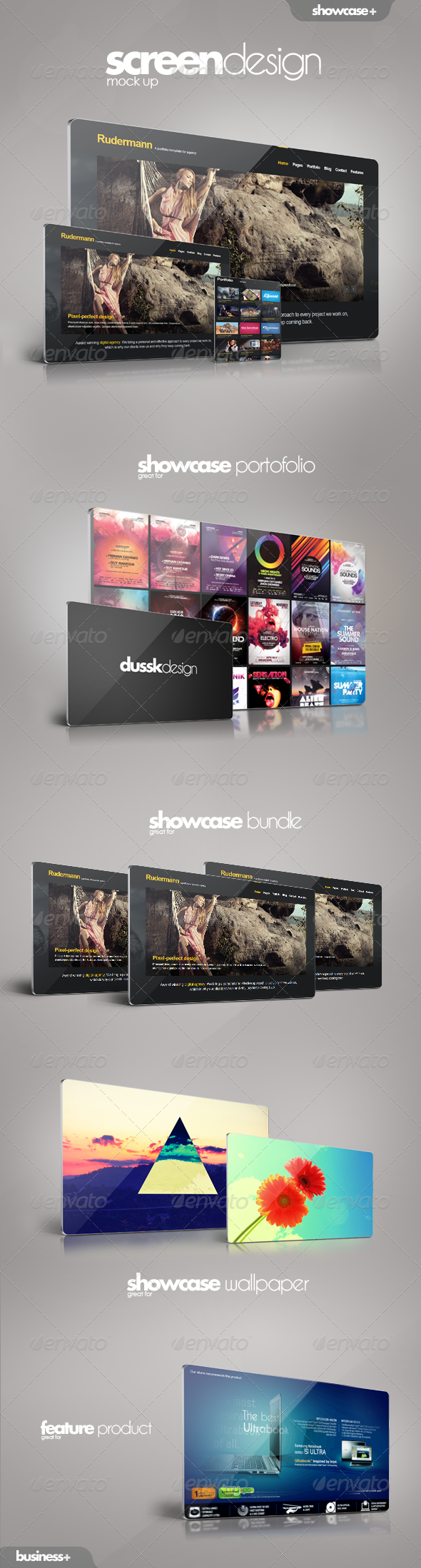 Screen Showcase Mock-up - Website Displays