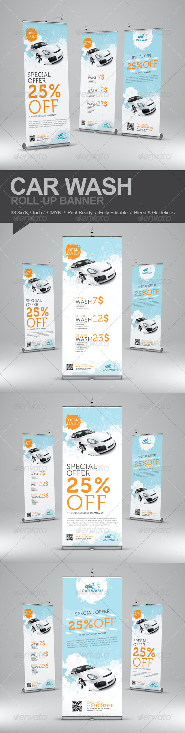 Car Wash Roll-Up Banner - Signage Print Templates