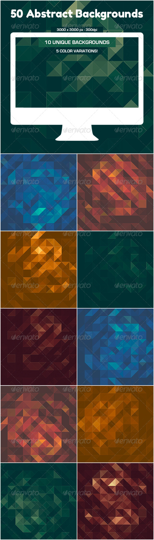 GraphicRiver 50 Triangles Backgrounds 5170376