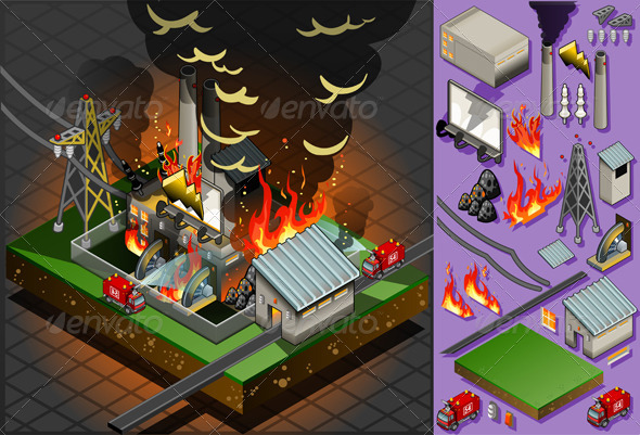 GraphicRiver Isometric Fire Disaster in Coal Plant 5170666