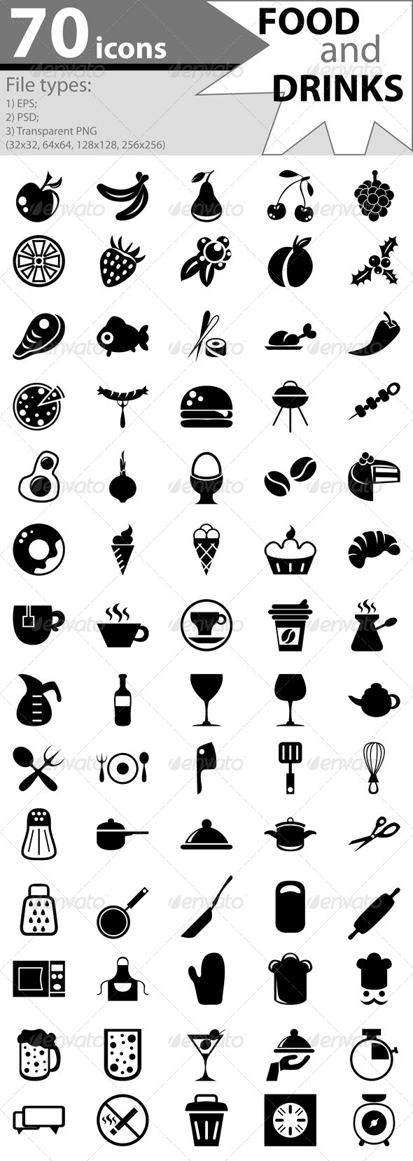 GraphicRiver Icons with food and drinks 5171210