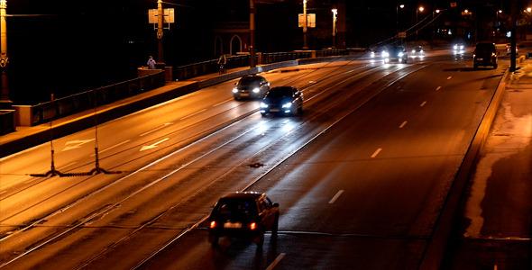 Night City Cars On The Bridge