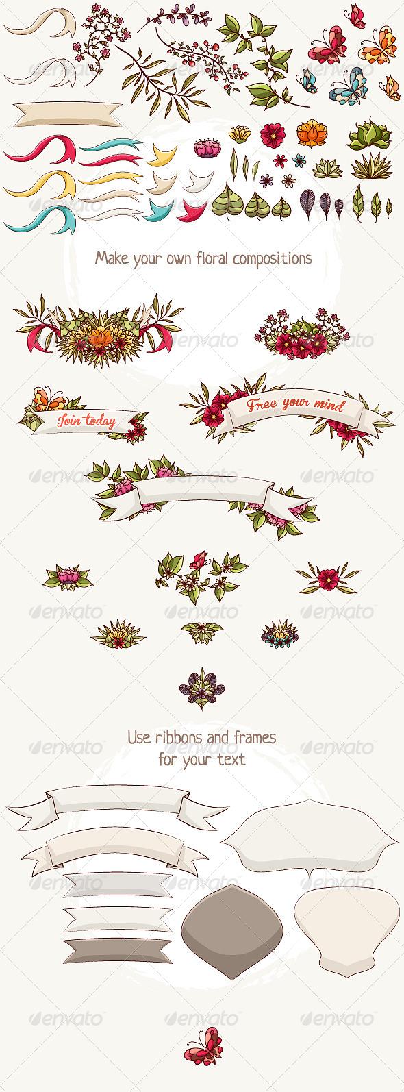 GraphicRiver Floral Elements 5171364