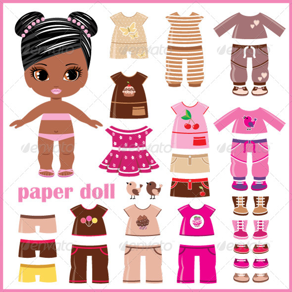 GraphicRiver Paper Doll with Clothes Set 5171614
