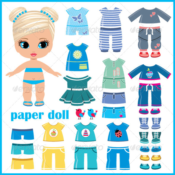 GraphicRiver Paper Doll with Clothes Set 5171647