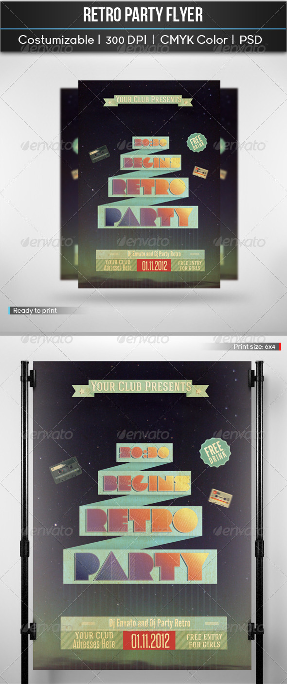 GraphicRiver Retro Party Flyer 5105948