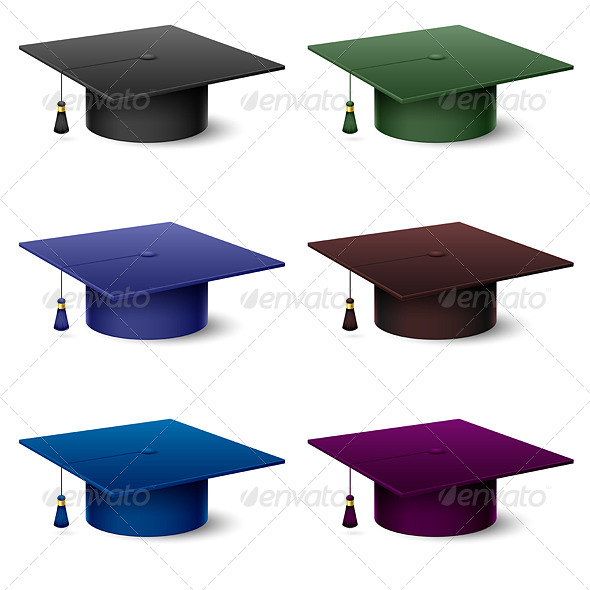 Set of of Colorful Graduate Hats