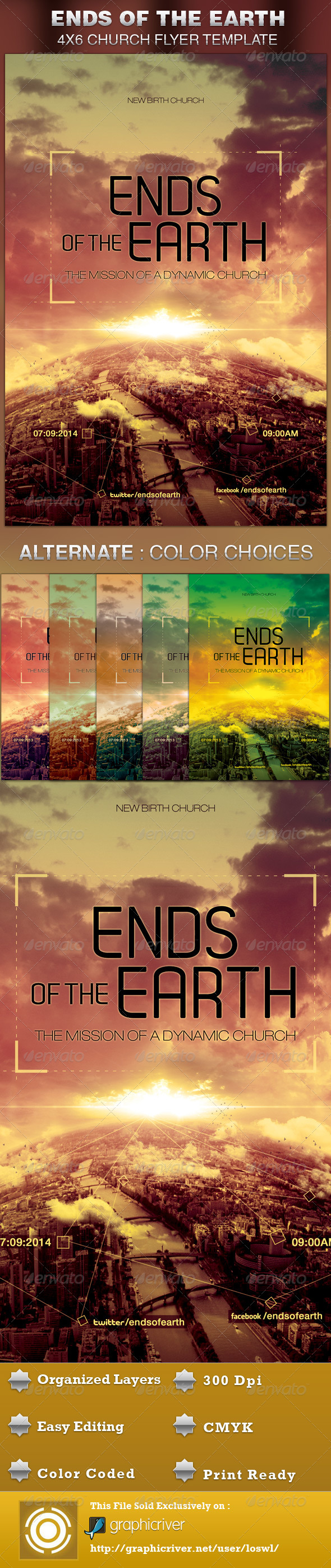 GraphicRiver Ends of the Earth Church Flyer Template 5172863