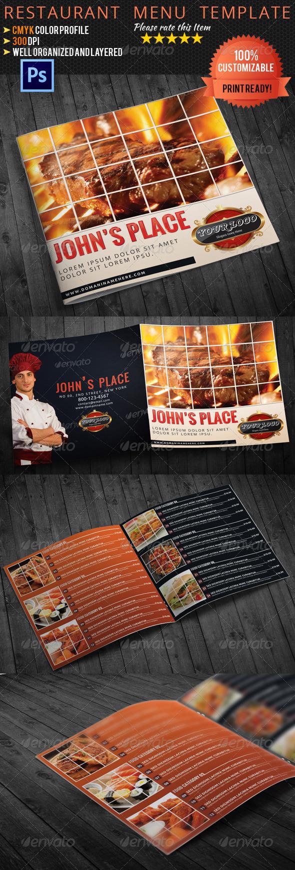 GraphicRiver Bi-Fold Square Food Menu Template 5109208