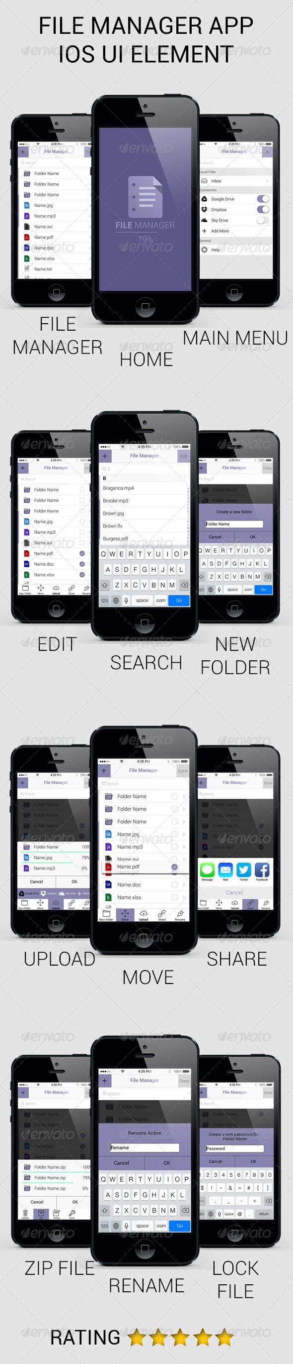 GraphicRiver File Manager App iOS UI Retina 5173114