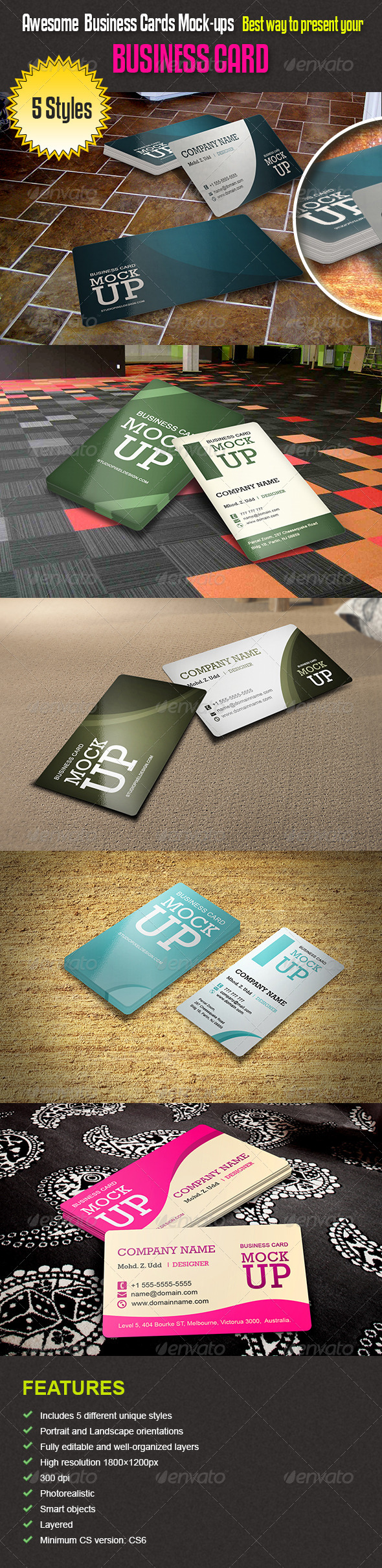 GraphicRiver Awesome Business Cards Mock-ups 5161152