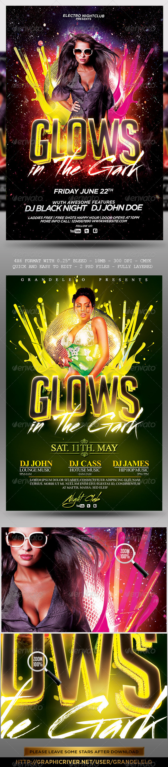 Glows in the Dark Party Flyer