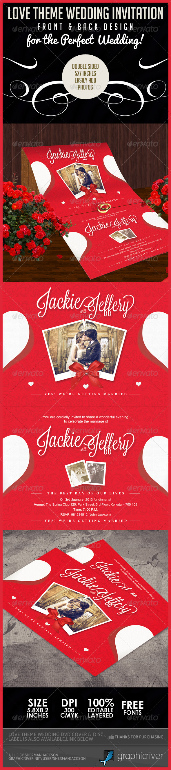 Love Theme Wedding Invitation Card