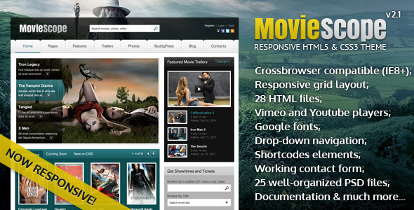 MovieScope -HTML5 & CSS3 Portal Template - Film & TV Entertainment