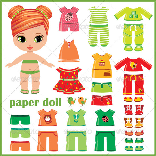 GraphicRiver Paper Doll with Clothes Set 5174162
