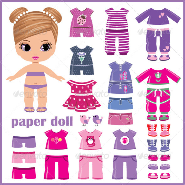 GraphicRiver Paper Doll with Clothes Set 5174251