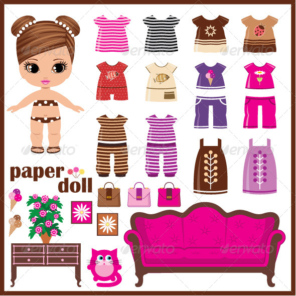 GraphicRiver Paper Doll with Clothes Set 5174257