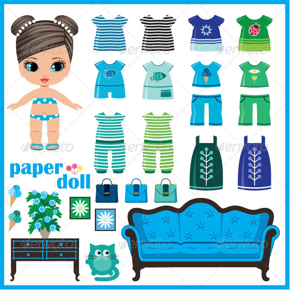 GraphicRiver Paper Doll with Clothes Set 5174403