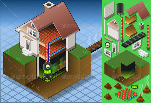 GraphicRiver Isometric House with Bio Mass Boiler 5174417