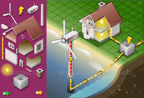 GraphicRiver Isometric House with Offshore Wind Turbines 5174439