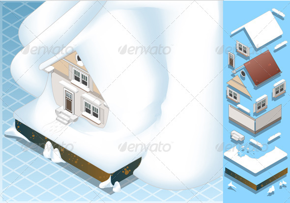 GraphicRiver Isometric House Hit by Landslide of Snow 5174444