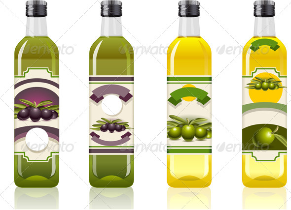 Four Olive Oil Bottles with Labels
