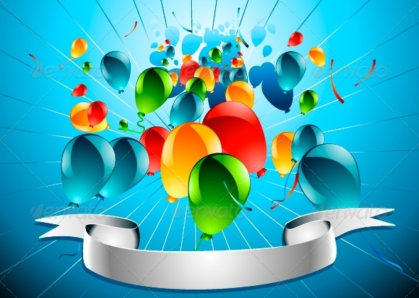 GraphicRiver Blue Background with Baloons 5174638