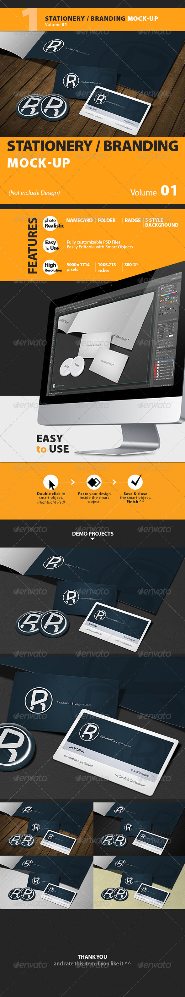 GraphicRiver Stationery Mock-up Vol.1 Richhunter 5148659