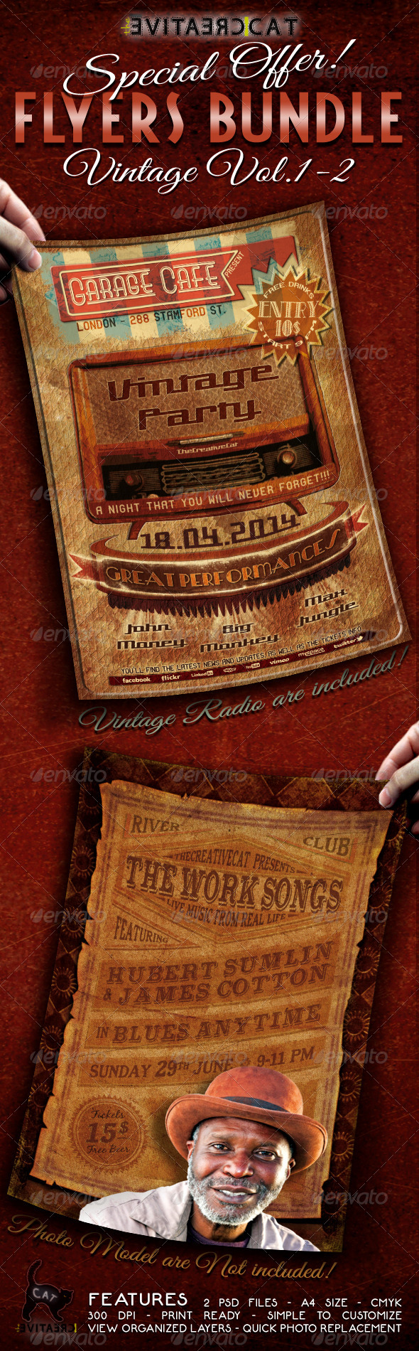 GraphicRiver Vintage Flyer Poster Bundle Vol.1-2 5112993
