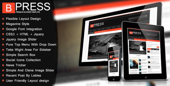 ThemeForest Bpress New & Responsive Magazin Blogger Template 5173698