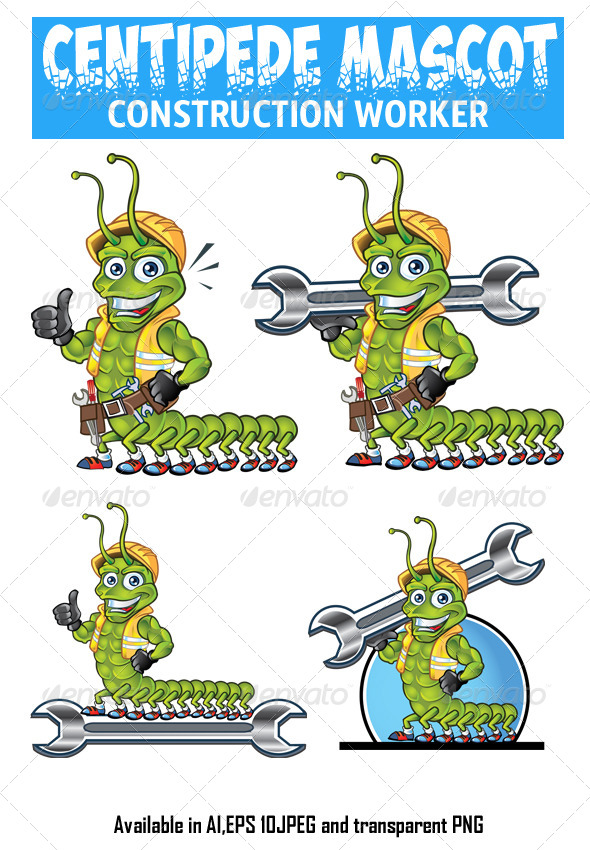 GraphicRiver Centipede Construction Worker Mascot 4529886