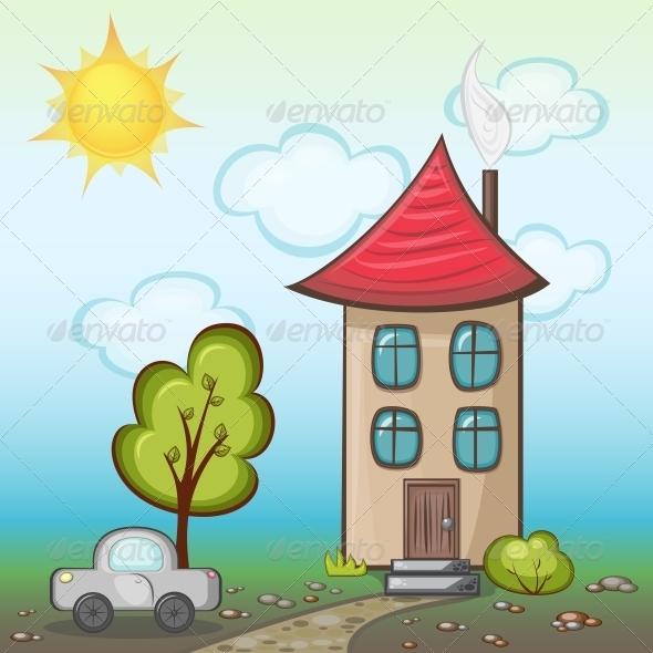 GraphicRiver House with Nature 5174987