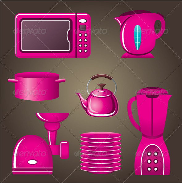 GraphicRiver Set Pink Cookware and Kitchen Appliances 5175592