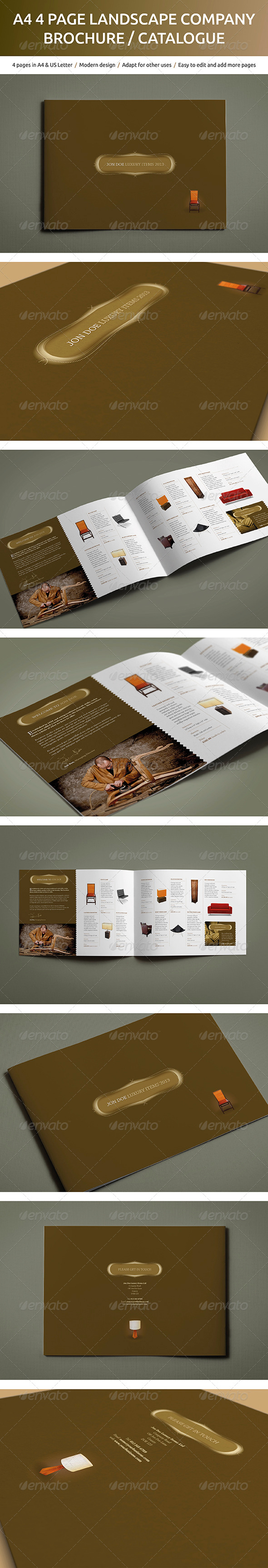 GraphicRiver A4 4 page Landscape Company Brochure and Catalog 5175598