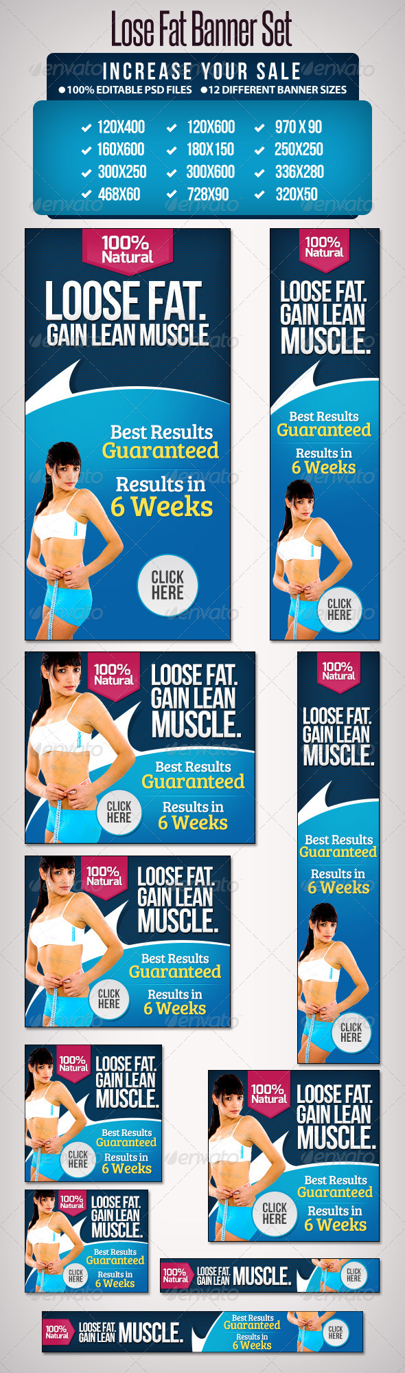 GraphicRiver Lose Fat Banner Set Google Pack 12 Sizes 5164420