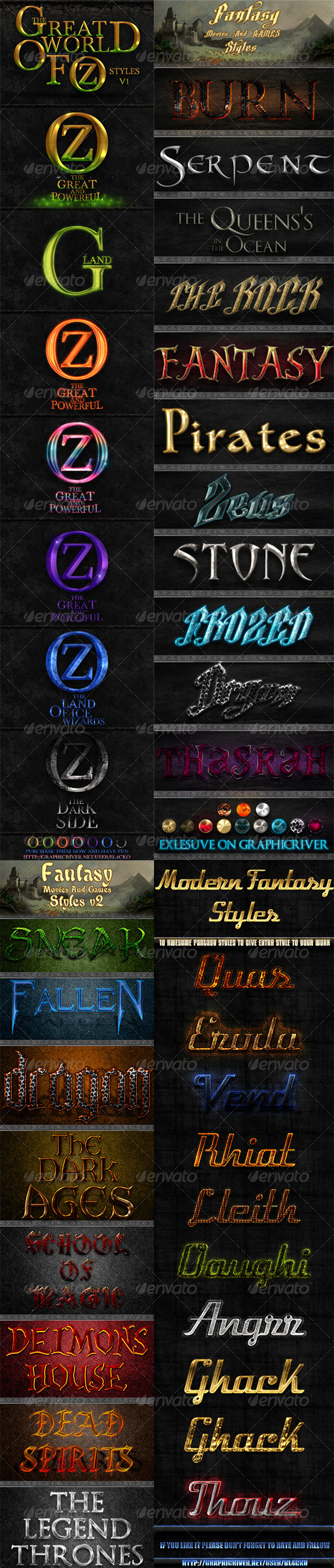 GraphicRiver 35 Fantasy Photoshop Styles Bundle 5177011