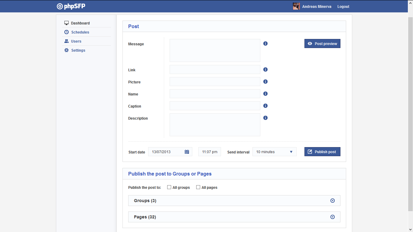 phpSFP - Schedule facebook posts 1.9.6