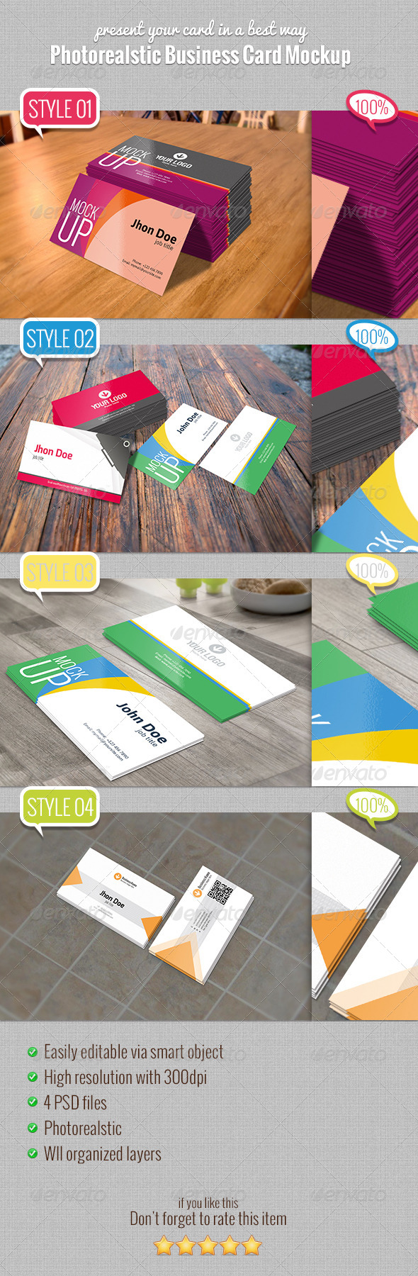 GraphicRiver Photorealstic Business Card Mockup 5178106