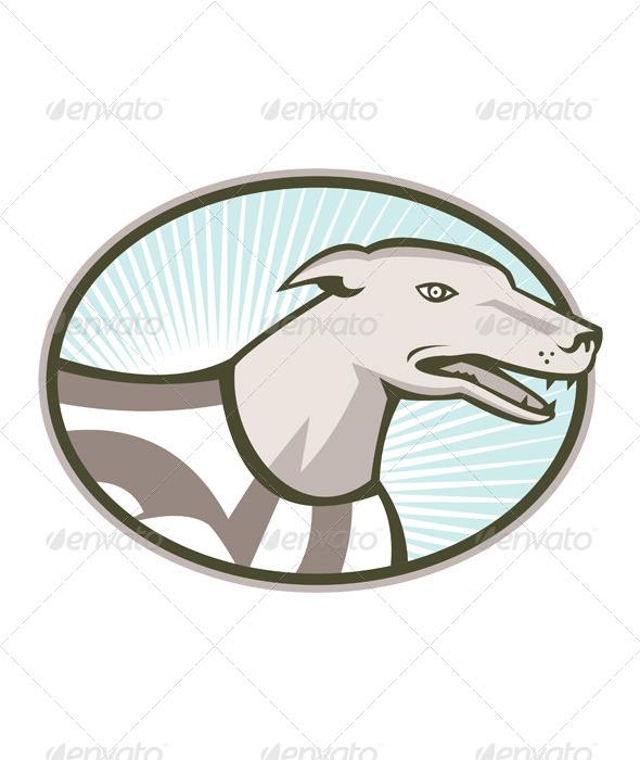 GraphicRiver Greyhound Dog Head Retro 5178196