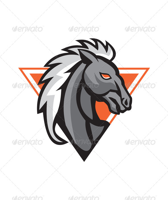 GraphicRiver Horse Head Side Retro 5178198