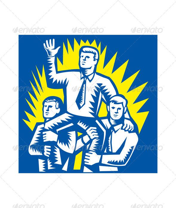 GraphicRiver Businessman Leader Prop Up Shoulders Woodcut 5178199