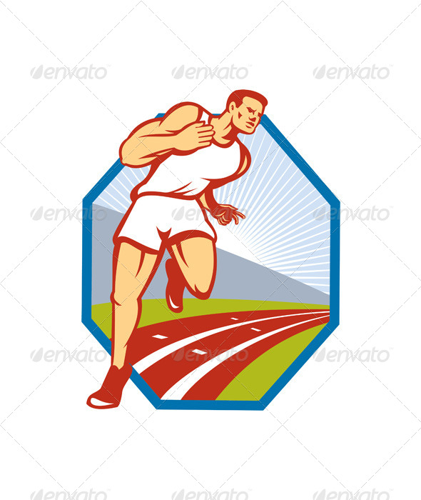 GraphicRiver Marathon Runner Running Race Track Retro 5178211